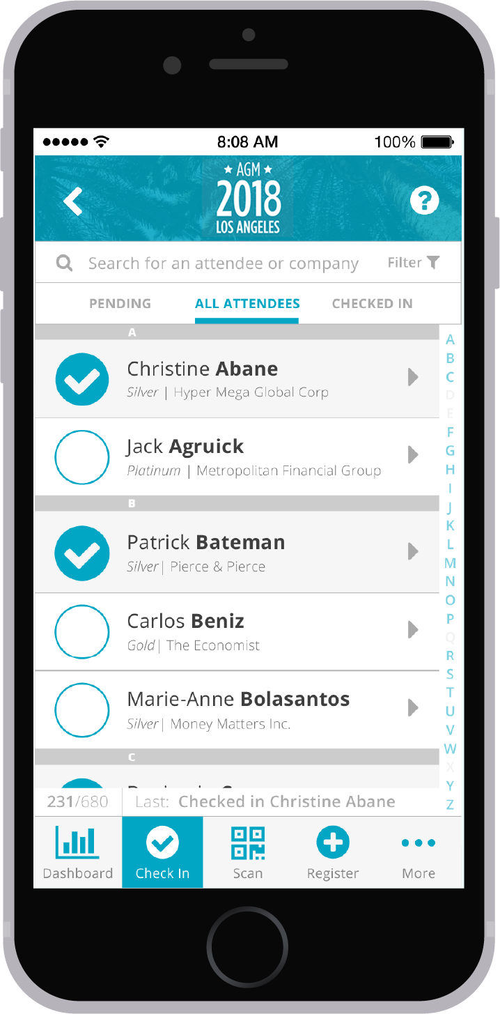 An iPhone whose screen shows the attendee list of Chloe's Check In app.