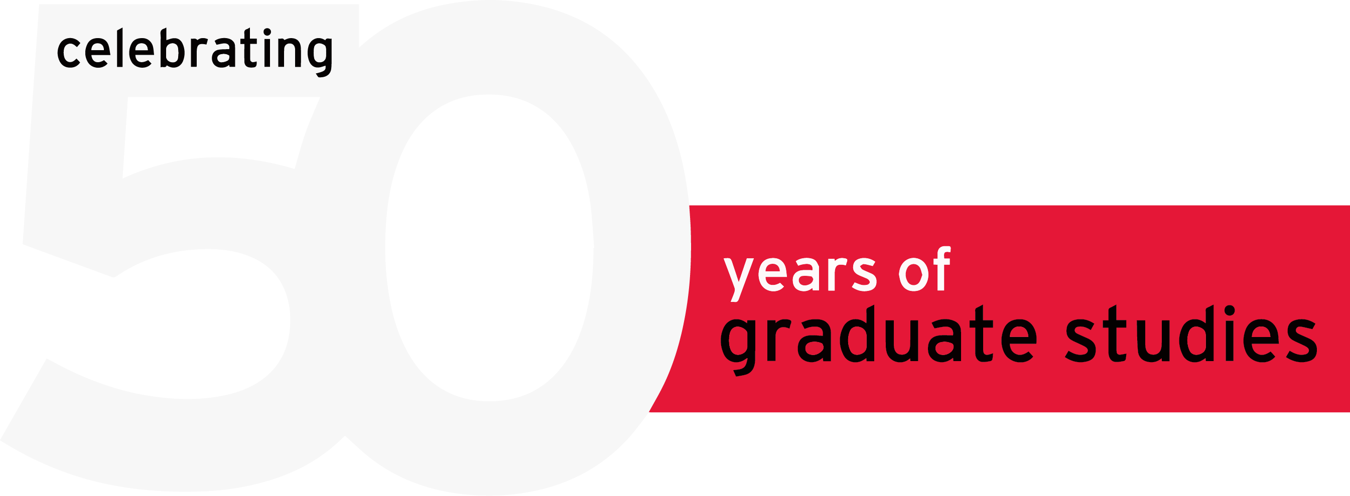 The logo for Chloe's 50 Years of Graduate Studies project - a large numberset five-zero.