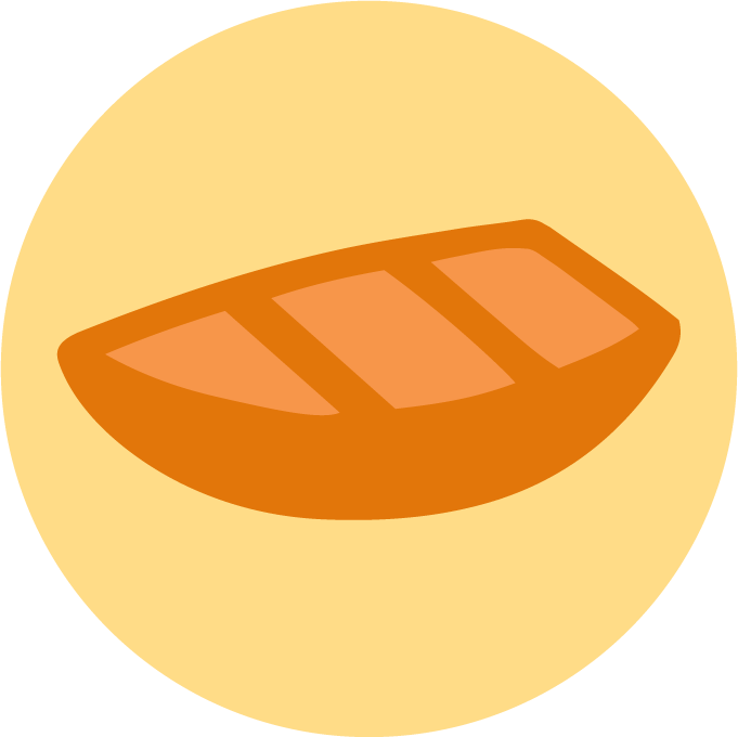 The logo for Chloe's FriendCanoe project - a yellow circle with a small cute orange boat in the middle of it. The circle is meant to be the sun.