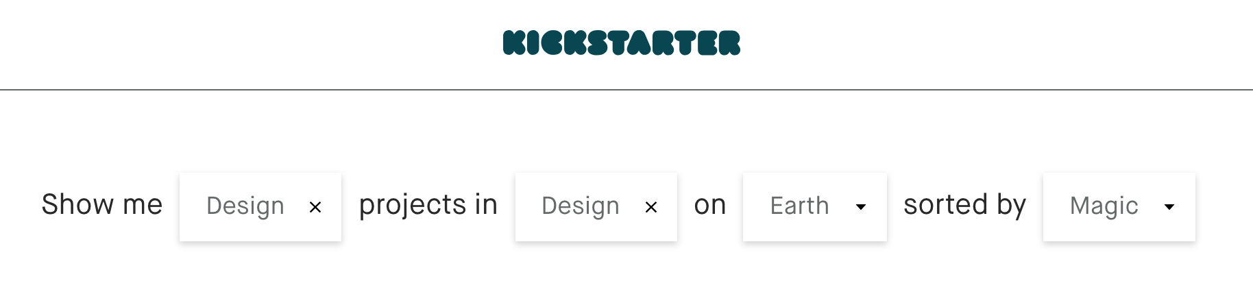 Kickstarter's search functionality