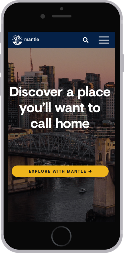 An iPhone whose screen shows the homepage redesign of Mantle's mobile app.